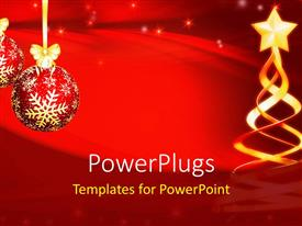 PowerPlugs: PowerPoint template with christmas decorations with hanging ornaments and ribbon on red background