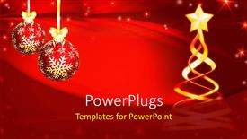 PowerPoint template displaying christmas decorations with hanging ornaments and ribbon on red background