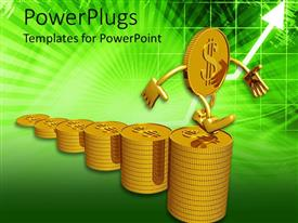 PowerPlugs: PowerPoint template with gold coin with arms and legs climbing stairs made from stacks of coins
