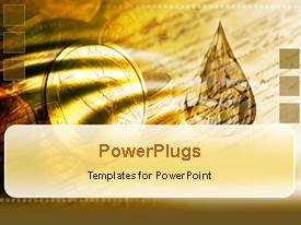 PowerPoint template displaying a gold coin with a number of other coins in the background