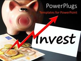 PowerPoint template displaying gold coins on currency notes with piggy bank and text INVEST