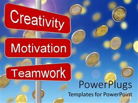 PowerPlugs: PowerPoint template with gold coins falling from blue sky over business motivation sign post