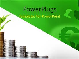 PowerPlugs: PowerPoint template with currency symbols in background with financial coin chart