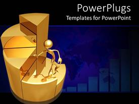 PowerPoint template displaying gold colored 3D character climbing a gold pie chart