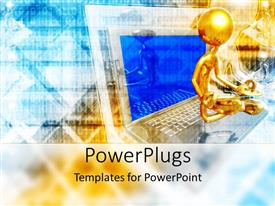 PowerPoint template displaying gold colored 3D character sitting on an open laptop
