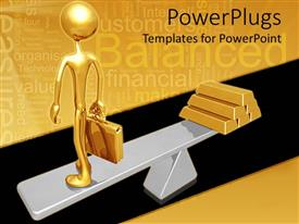 PowerPlugs: PowerPoint template with a gold colored 3D human character standing on a scale with gold bars