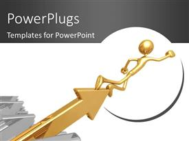 PowerPlugs: PowerPoint template with a gold colored arrow with a 3d character standing on it