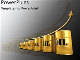 PowerPoint template displaying a gold colored arrow on six oil containers with texts on them
