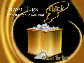 PowerPlugs: PowerPoint template with gold colored box filled up with light bulbs with  THINK text