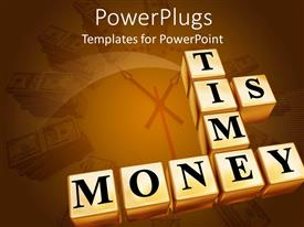 PowerPlugs: PowerPoint template with gold colored boxes with the 'text time is money'