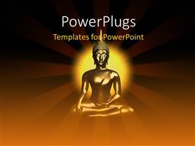 PowerPoint template displaying a gold colored Buddha statue on a brown background