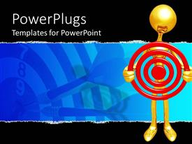 PowerPoint template displaying a gold colored character holding a red dart board