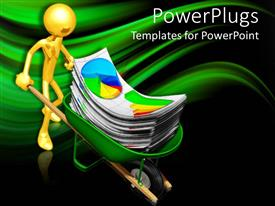 PowerPoint template displaying a gold colored character holding a wheel barrow with lots of graph sheets