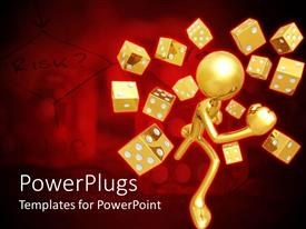 PowerPlugs: PowerPoint template with a gold colored character with lots of dies around