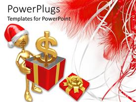 PowerPlugs: PowerPoint template with a gold colored character wearing a Christmas cap and a dollar symbol