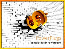 PowerPlugs: PowerPoint template with gold colored dollar symbol breaking through a white wall