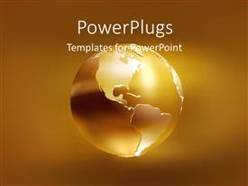 PowerPlugs: PowerPoint template with a gold colored earth globe on a golden background