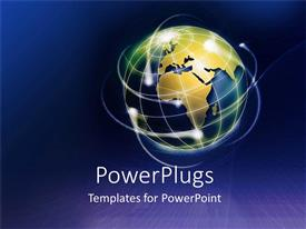 PowerPlugs: PowerPoint template with gold colored earth globe with lights on a blue background