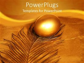 PowerPlugs: PowerPoint template with a gold colored egg on a dirty gold feather