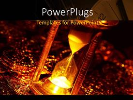 PowerPlugs: PowerPoint template with a gold colored hour glass on lots of gold coins