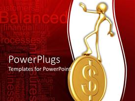 PowerPlugs: PowerPoint template with a gold colored human balancing on a golden coin