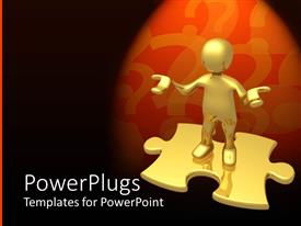 PowerPlugs: PowerPoint template with gold colored human depiction standing on a puzzle piece