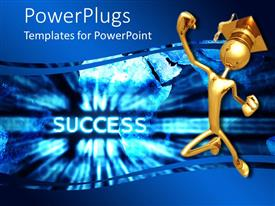 PowerPlugs: PowerPoint template with gold colored human figure with a graduation cap happily jumping