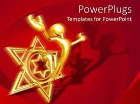 PowerPlugs: PowerPoint template with a gold colored human figure jumping out of a star symbol