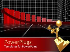 PowerPlugs: PowerPoint template with gold colored human figure with red bar charts and an arrow