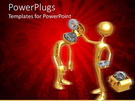 PowerPlugs: PowerPoint template with gold colored human figures removing gears from another head