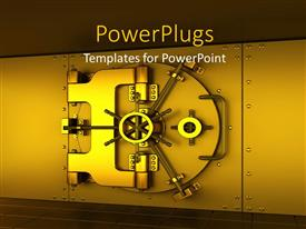 PowerPoint template displaying a gold colored iron safe on a brown background