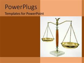 PowerPlugs: PowerPoint template with a gold colored judgement scale on a white background