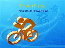 PowerPoint template displaying gold colored plaque of a man riding a bicycle