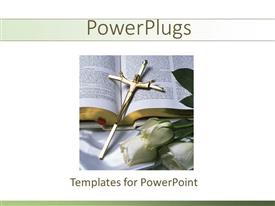 PowerPlugs: PowerPoint template with gold crucifix on bible with white roses, religion, Christianity, faith, church