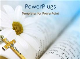 PowerPlugs: PowerPoint template with gold crucifix with white daisy on open Bible