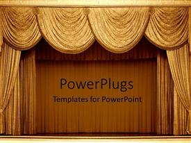 PowerPlugs: PowerPoint template with gold curtains on a stage in a theater for a show as a metaphor on a brown background