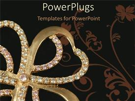 PowerPlugs: PowerPoint template with gold and diamond Four leaf clover