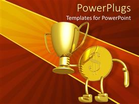 PowerPlugs: PowerPoint template with gold dollar coin lifting gold champion trophy