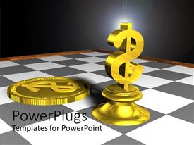 PowerPoint template displaying gold dollar sign chess piece and gold coin on gray and white chess board, finance, investing