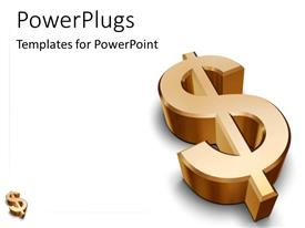 PowerPlugs: PowerPoint template with gold dollar sign metallic on white background black texts