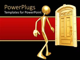 PowerPlugs: PowerPoint template with gold figure approaching door of opportunity on red and black background