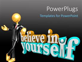 PowerPlugs: PowerPoint template with gold figure in black suit leaning on worlds Believe In Yourself