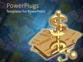PowerPoint template displaying gold figure buried under credit cards reaches for help from three dimensional dollar sign