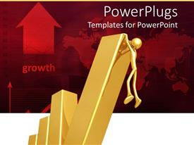 PowerPoint template displaying gold figure climbing last part of bar chart on red background indicating growth