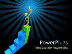PowerPoint template displaying gold figure with finger in the air