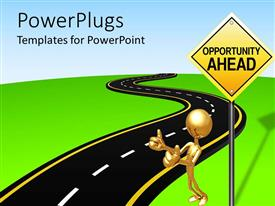 PowerPoint template displaying gold figure hitching ride next to Opportunity Ahead sign