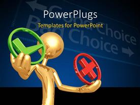 PowerPlugs: PowerPoint template with gold figure holding green check and red x