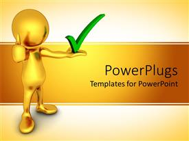 PowerPlugs: PowerPoint template with gold figure holding green check mark
