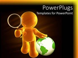 PowerPlugs: PowerPoint template with gold figure holding magnifying glass standing next to green and white globe