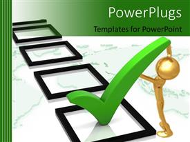 PowerPlugs: PowerPoint template with gold figure placing large green three dimensional check mark in square